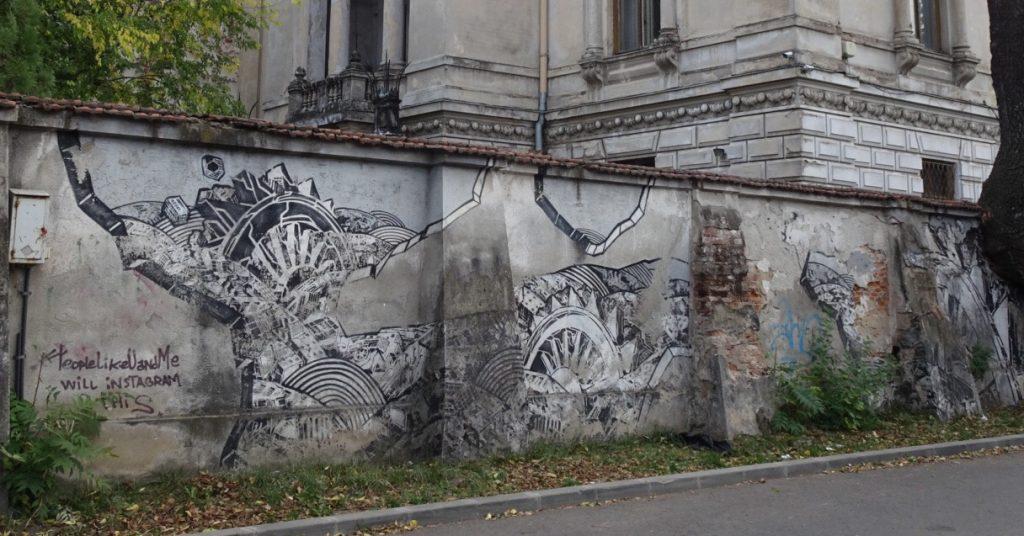 Wallart sur ruine à Bucarest