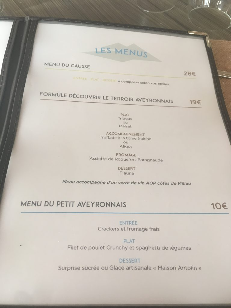 La carte du restaurant Le point de vue