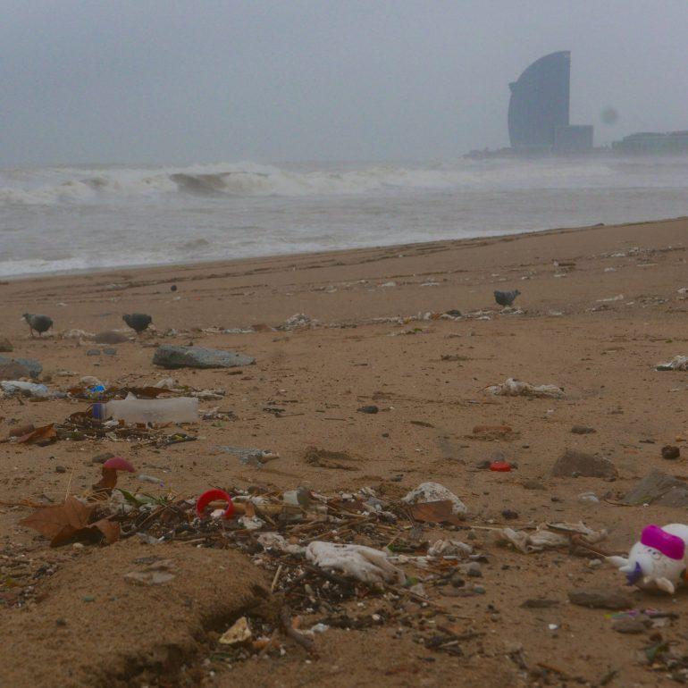 Tempête Gloria : la plage une décharge de plastique
